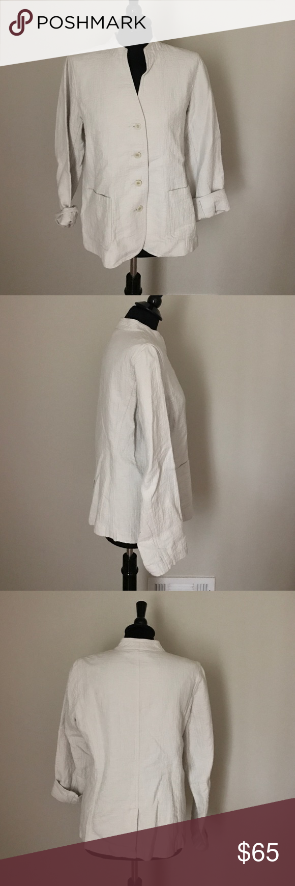 Eileen Fisher Linen Jacket Gently worn Eileen Fisher Jacket. Stone/Ivory color perfect for Spring. 55%Linen/45%Cotton Eileen Fisher Jackets & Coats