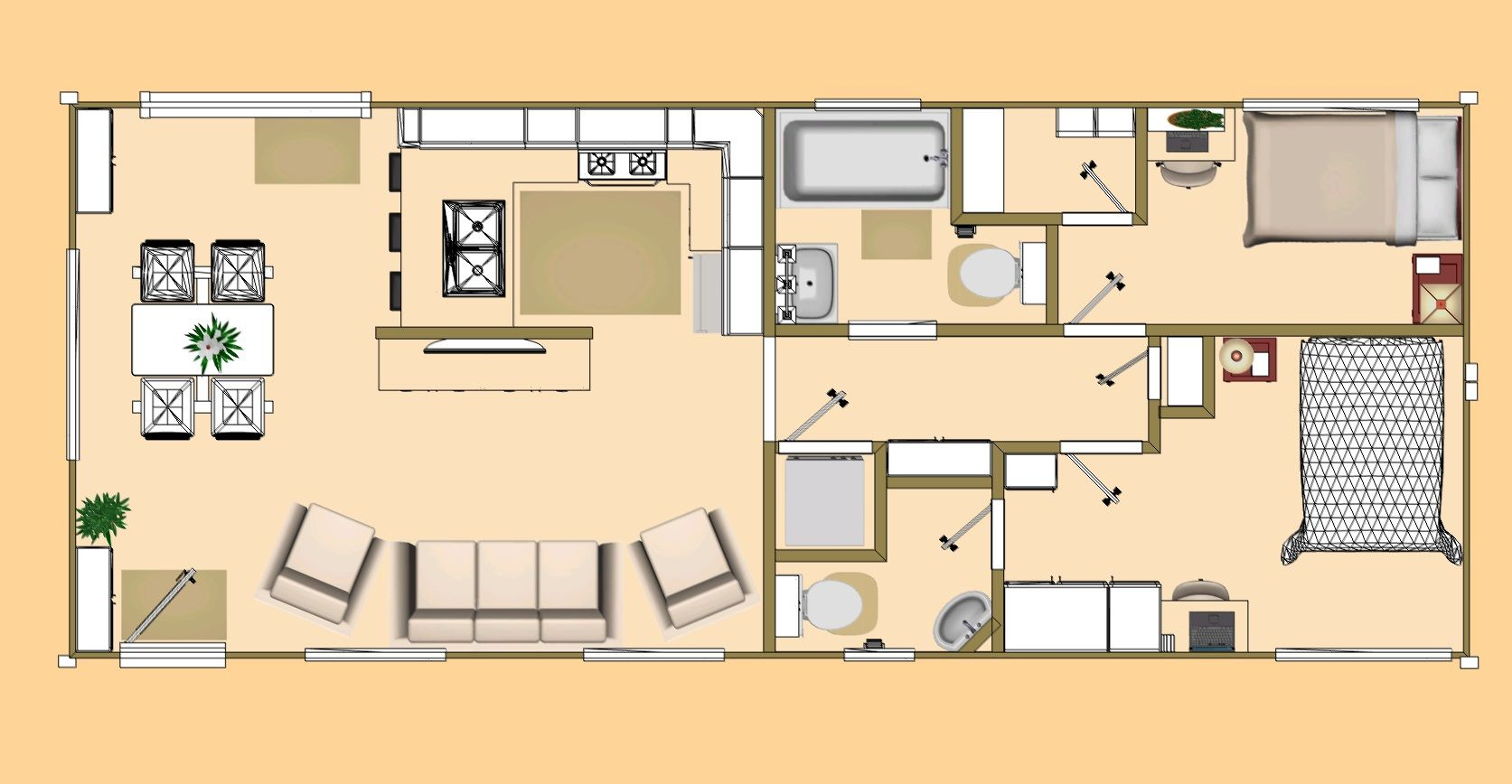 Floor Plan Of Our 640 Sq Ft Daybreak Floor Plan Using 2 X 40 Shipping Con Container House Plans Shipping Container Home Designs Shipping Container House Plans
