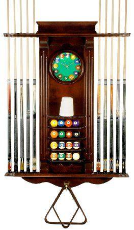Cue Rack Only 10 Pool Billiard Stick Balll Set Wall Stand W Clock Mahogany Finish Pool Cue Rack Pool Cues Billiards Room Decor