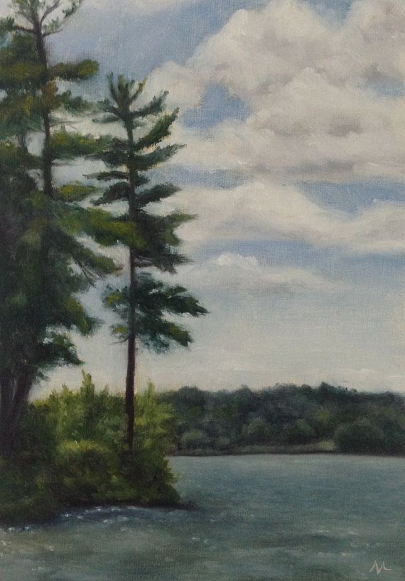 Landscape Oil Painting Lake Winnipesaukee Nh Pine On Etsy Oil Painting Landscape Painting Oil Painting