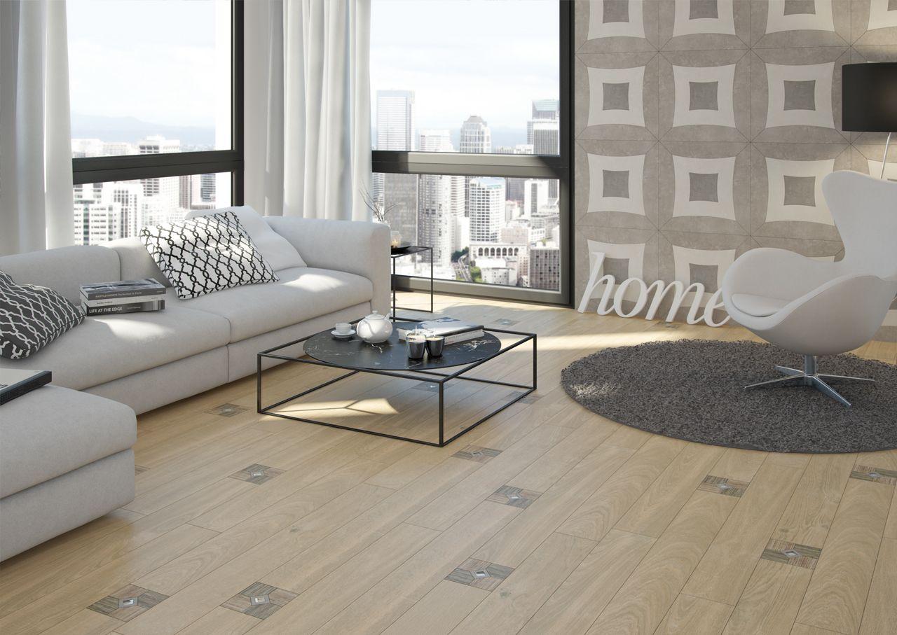 Sal n ideal para un apartamento con madera cer mica en el for Ceramica para suelos