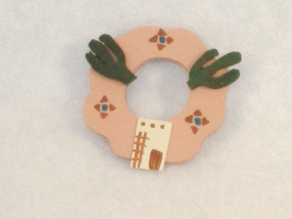 Handpainted Miniature Wood Wreath, Southwest Theme, Saguaro Cactus, Adobe House-Great Accessory for Your Dollhouse, Shadow Box, Knick Knack