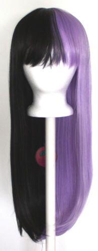 27 Long Straight Split W Short Bangs Half Black Half Lavender Purple Wig New Half And Half Hair Lilac Hair Split Hair