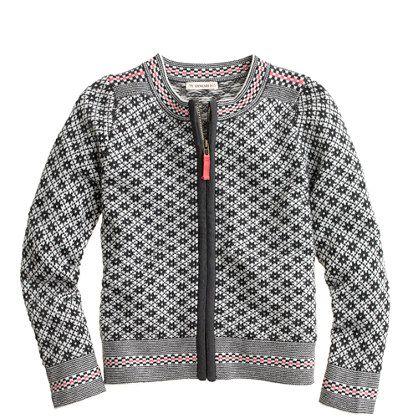 Girls' snowflake Fair Isle zip sweater   Kid Friendly   Pinterest ...