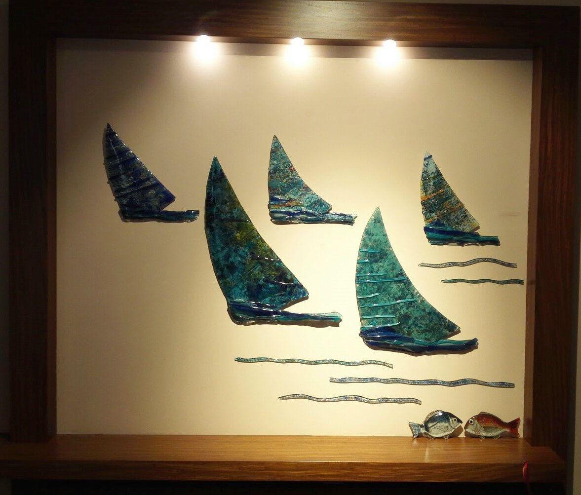 wall art sail boats glass art and fish fish and boat composition art ...