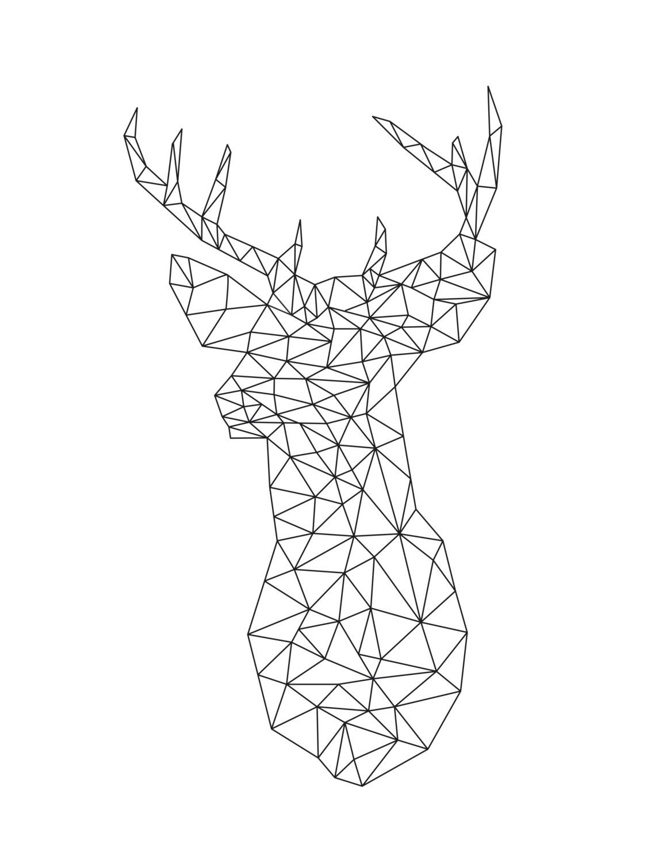 Origami Deer Art Print Deer Geometric Animal Diy Wall