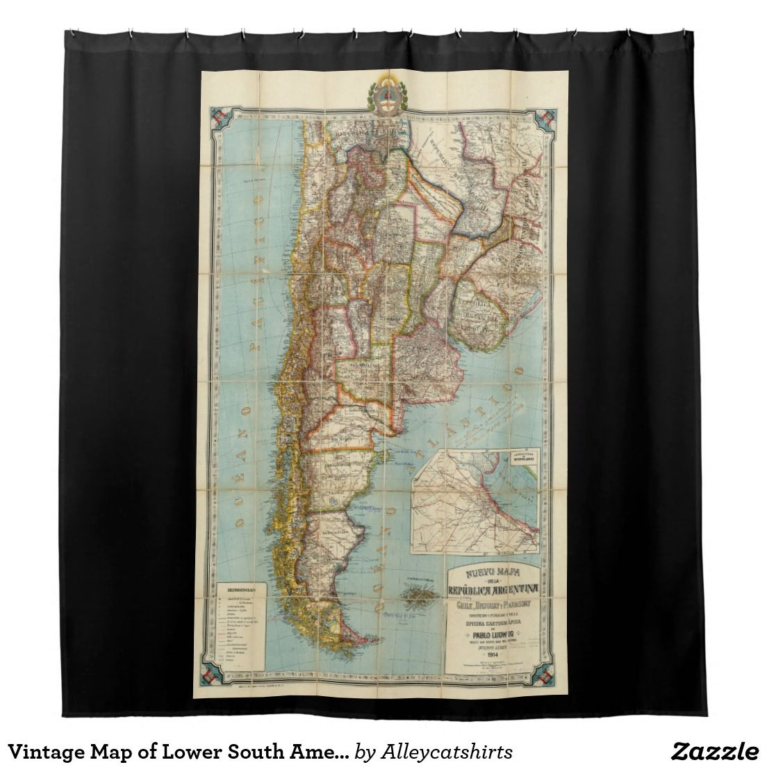 Vintage Map of Lower South America 1914