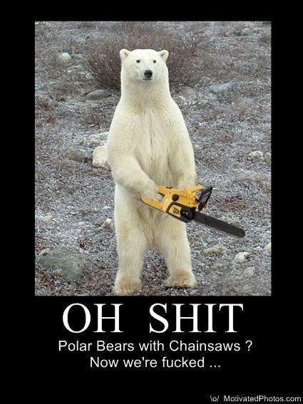 02aac657d02cc37cbdc3bdd35141d7d2 polar bears with chainsaws funny caption pics pinterest