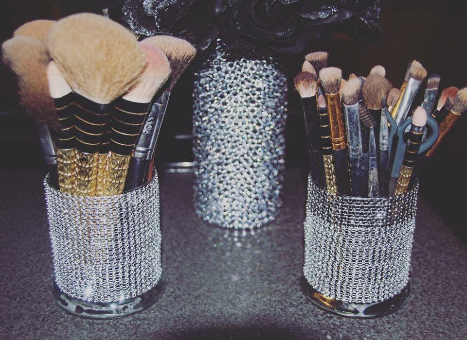 Glam DIY makeup brush holder cups storage glitter