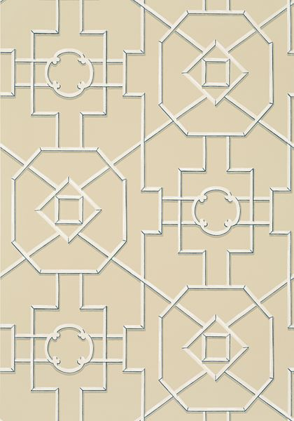 Bamboo Lattice Tan And Navy T36159 Collection Enchantment From