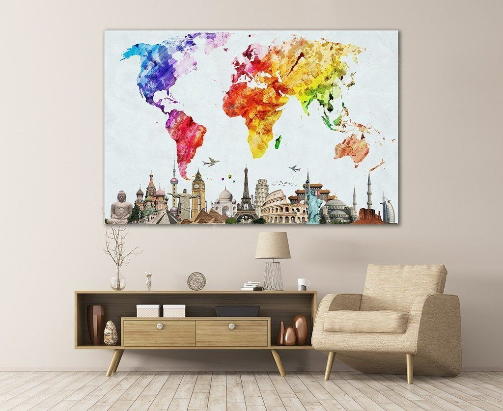 Watercolor world map 103 contemporary wall decor art decor and watercolor world map 103 gumiabroncs Gallery