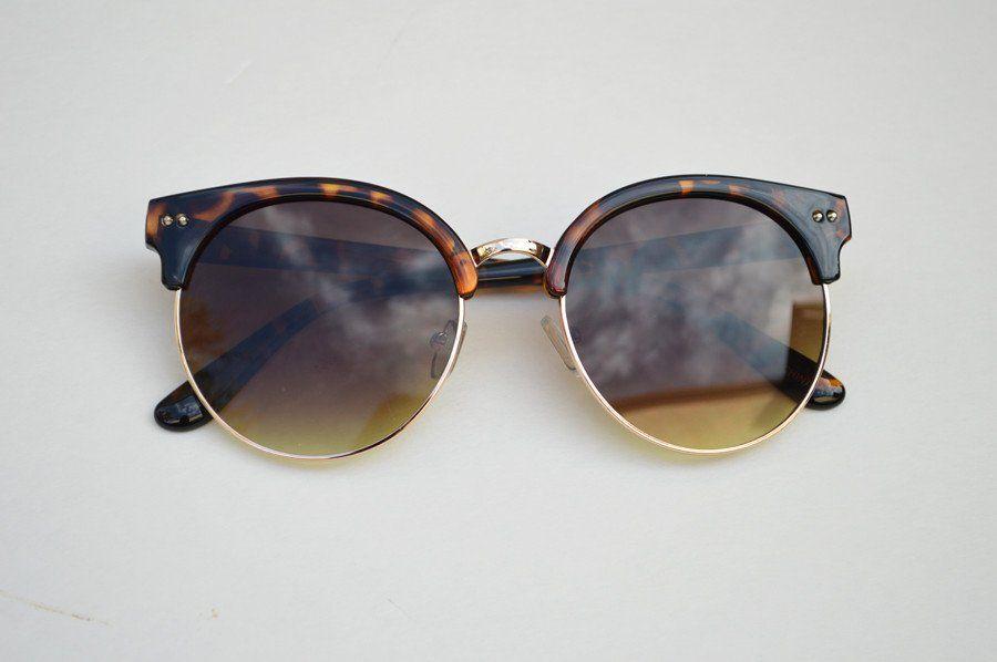 Round Half Frame Vintage Sunglasses Unisex