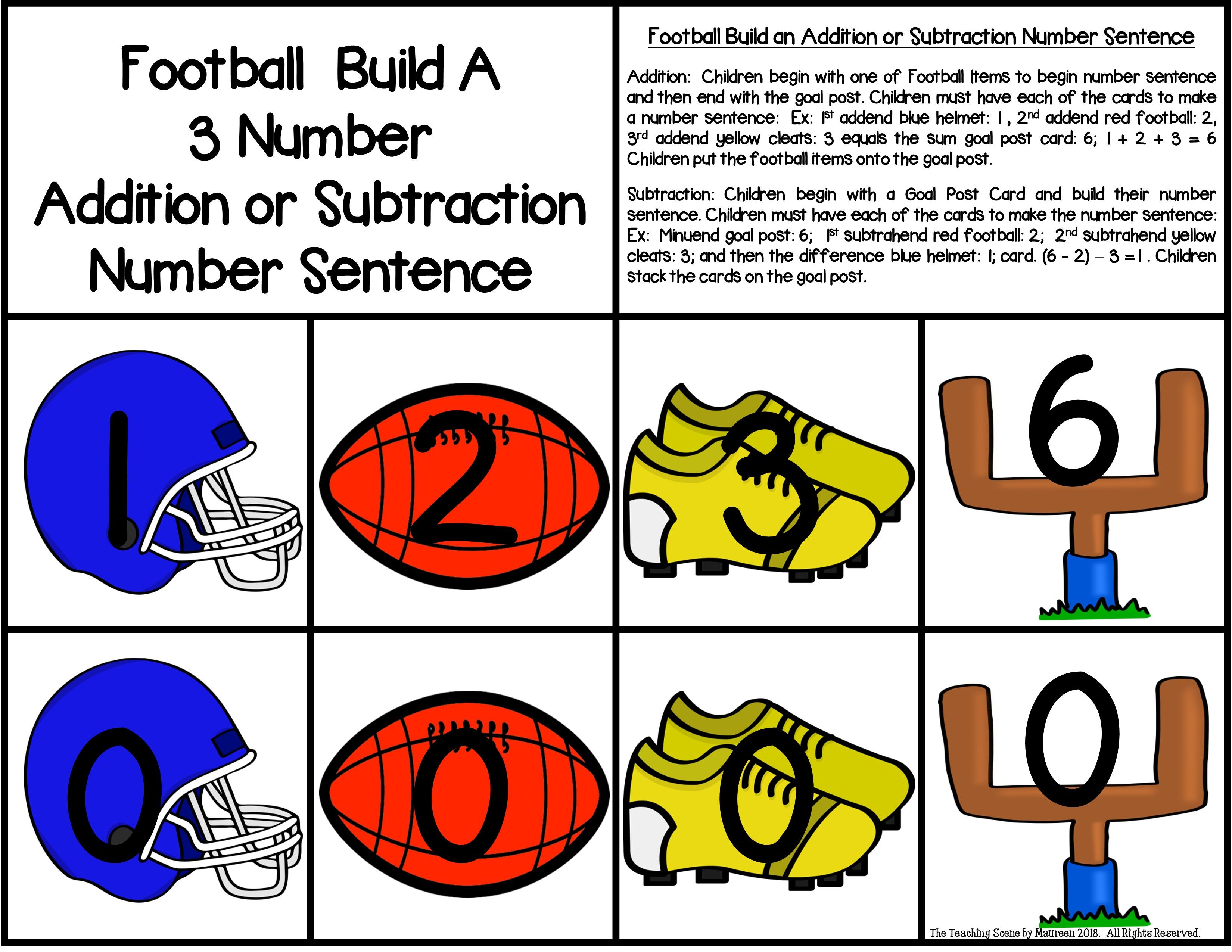 Football Build A 3 Addend Addition Or Subtraction Number