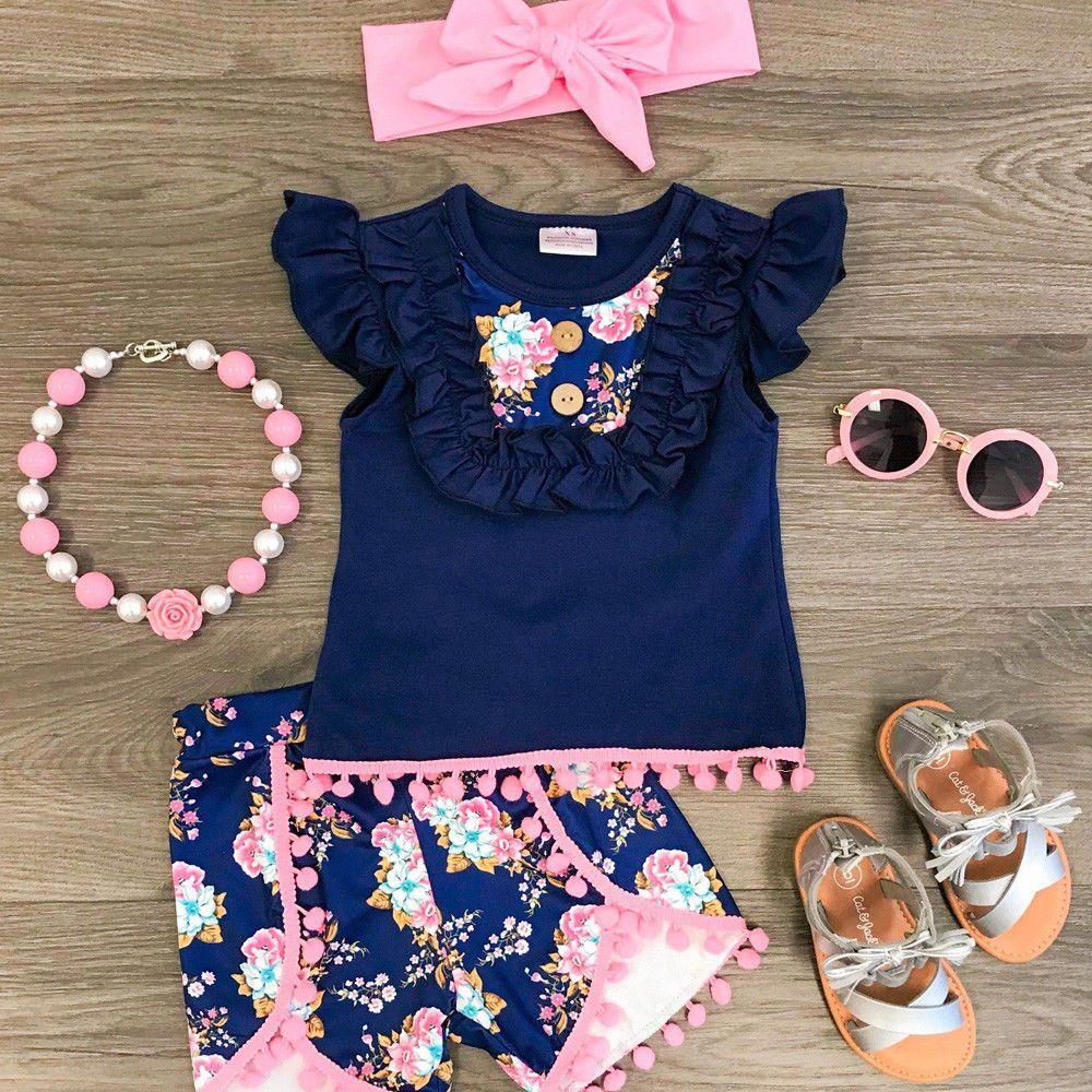 f06431af3 US Canis Kids Toddler Baby Girl Vest Top T shirt+Flower Shorts 3pcs ...