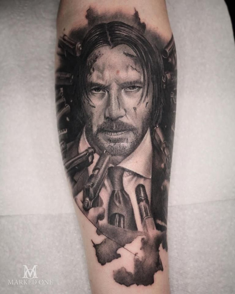 Portrait Tattoo Of Character John Wick Played By Keanu Reeves Black And Grey Realism Tattoo By Adam Thomas Of Marked One Tattoo