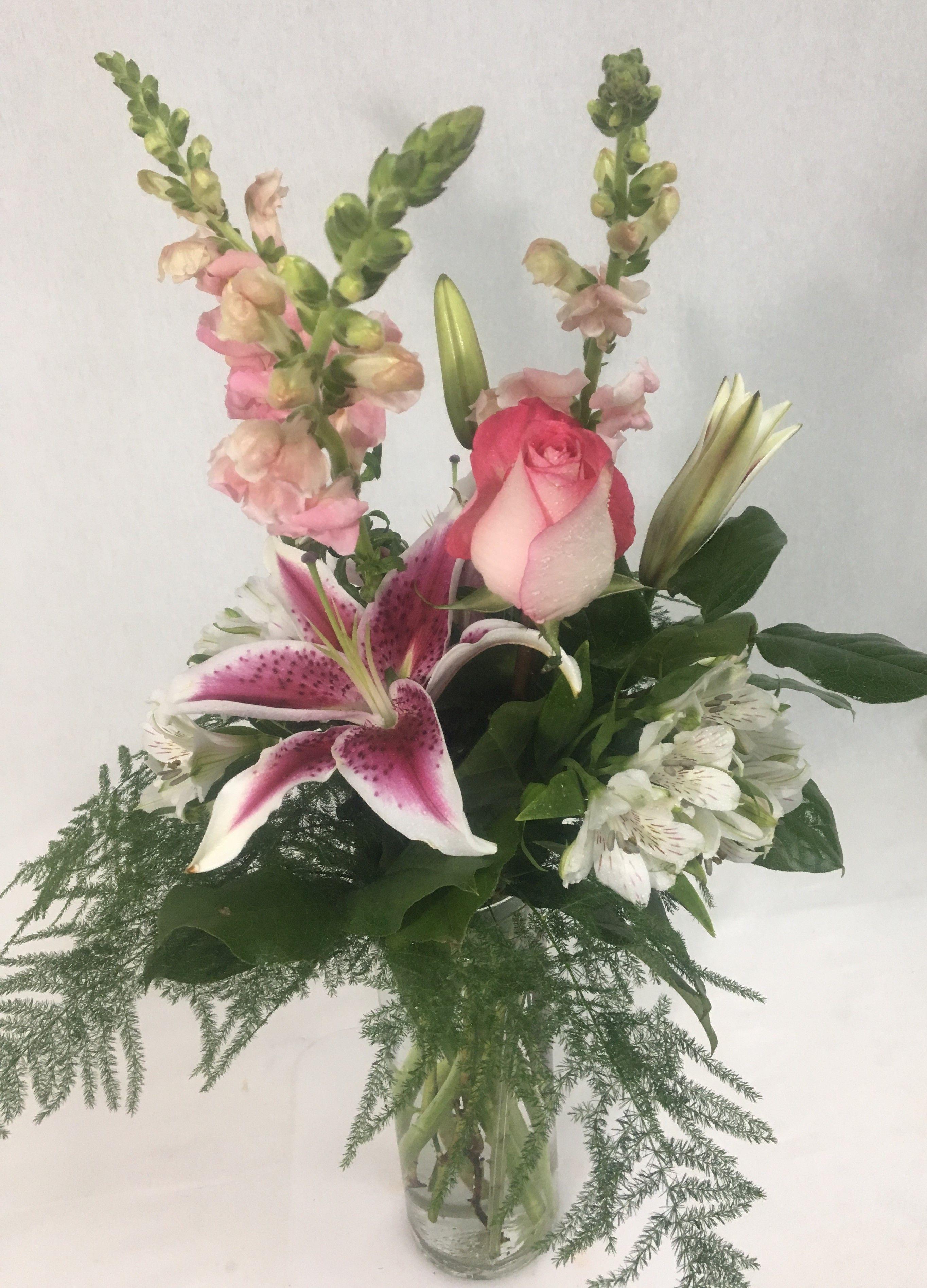 Pink Snapdragons Stargazer Lilies White Alstroemeria White With