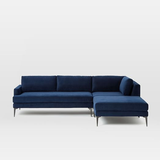 Andes 3 Piece Chaise Sectional Blue Sectional Modern Couch 5