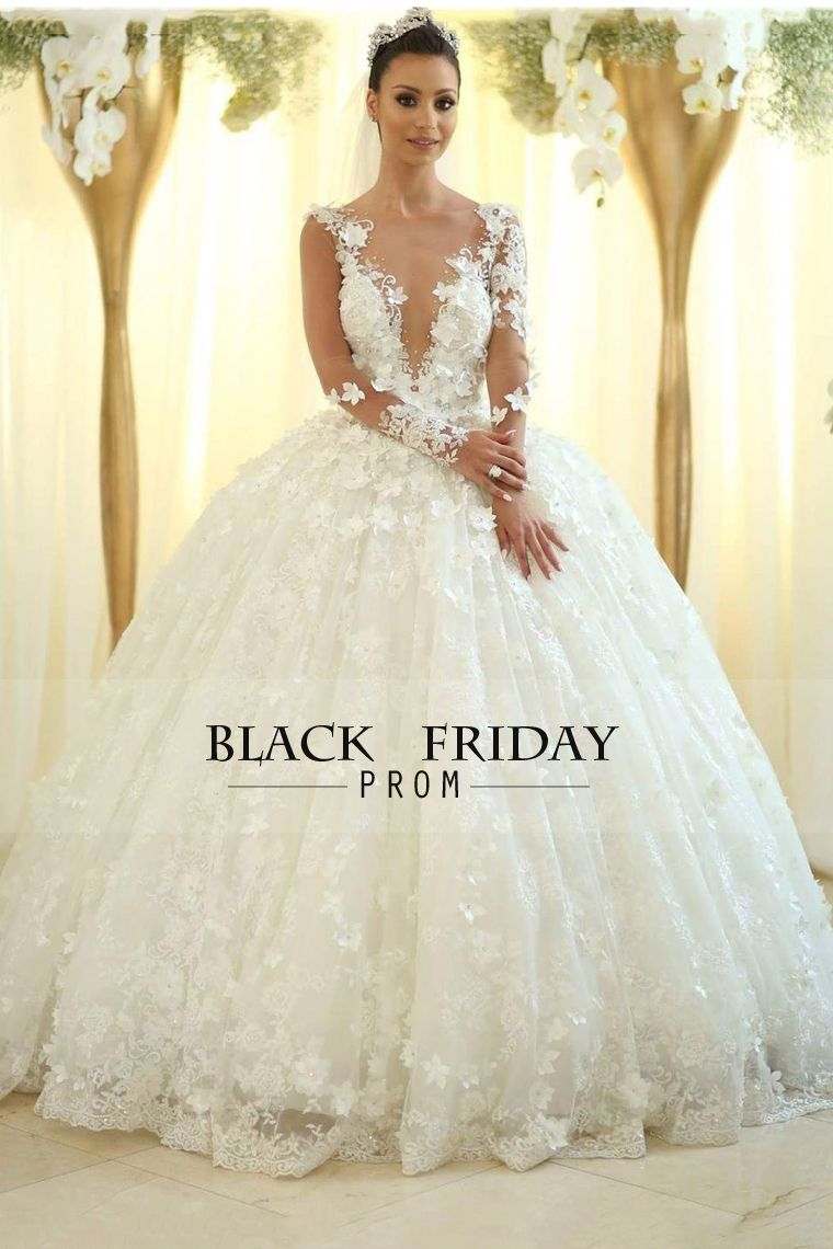 Wedding dress long sleeve   Ball Gown Wedding Dresses Scoop Lace With Handmade Flower