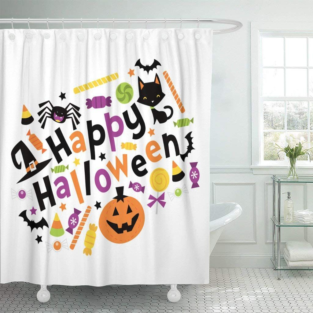 Halloween Decorations Celebration \u003e Emvency Fabric Shower Curtain - Whimsical Halloween Decorations