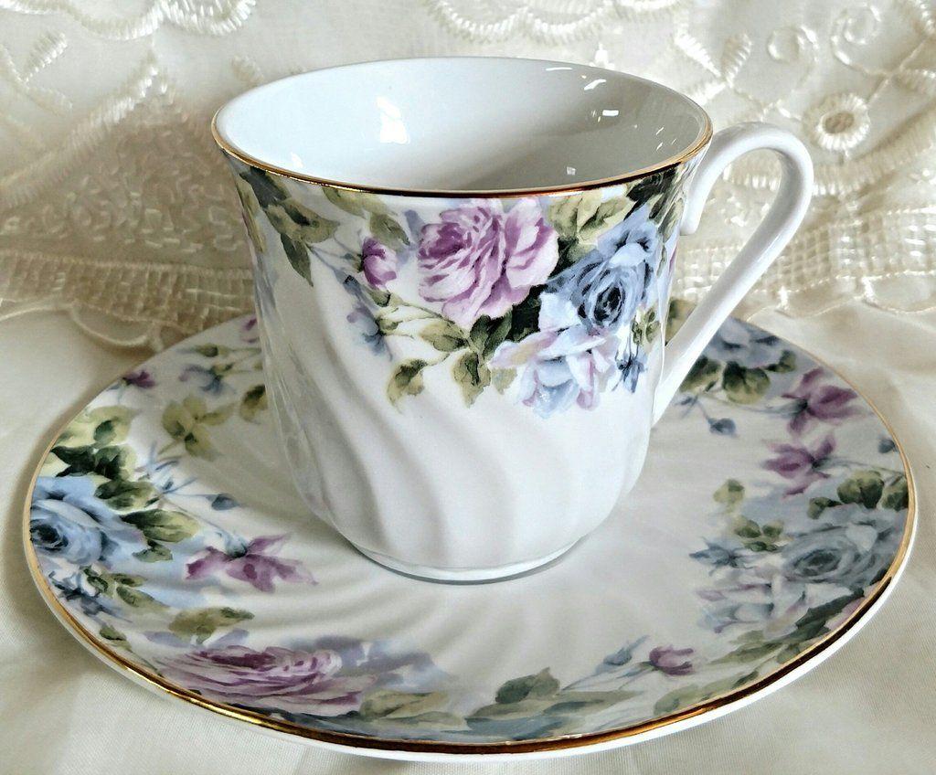 Set of 6 Millicent Bulk Porcelain Teacups and Saucers