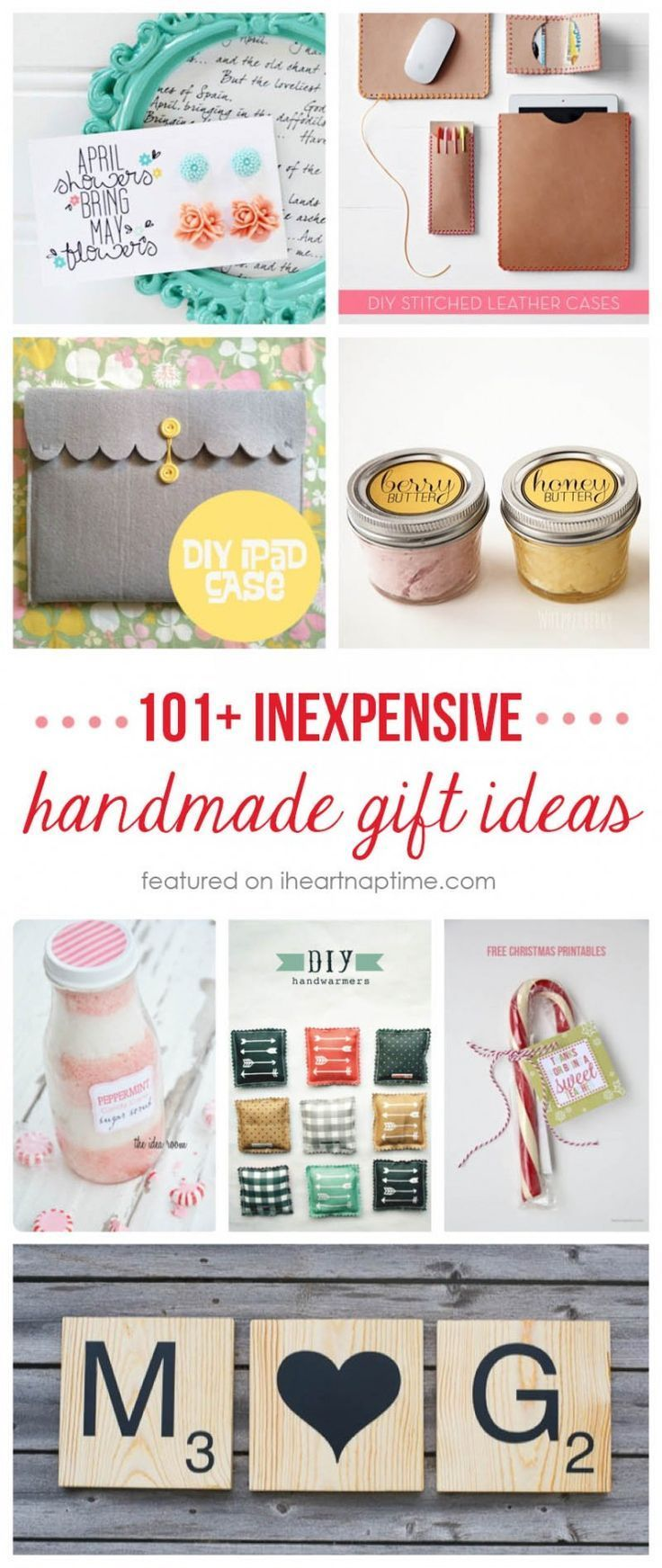 101+ inexpensive handmade Christmas gifts on http://iheartnaptime ...