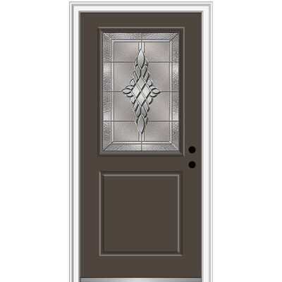 Verona Home Design Fibreglass Smooth 1 2 Lite 1 Panel Single Entry Door Finish Brown Door Size 80 H X 32 W X 1 75 D Door Orientation Left Hand Aluminum Screen Doors Vinyl Screen