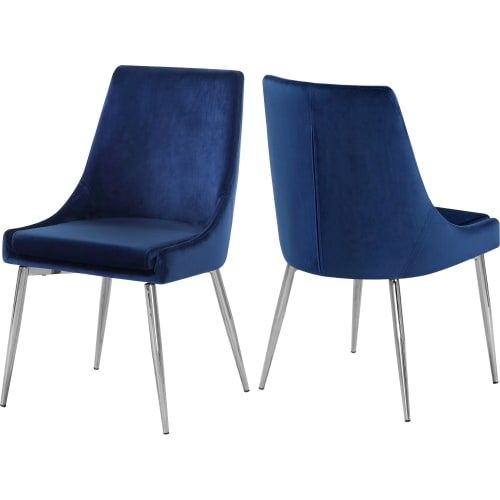 Karina Navy Velvet Dining Chair With Chrome Base Set Of 2 Dining Chairs Dining Chair Upholstery Velvet Dining Chairs