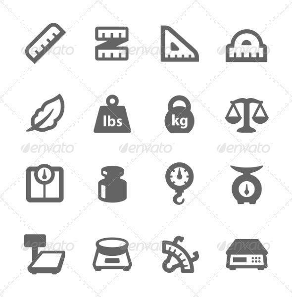 Scales and Rulers Icons balance, button, caliper, clip art