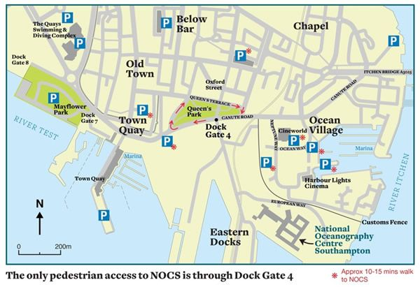 Map of car parking near NOC Southampton places to visit UK