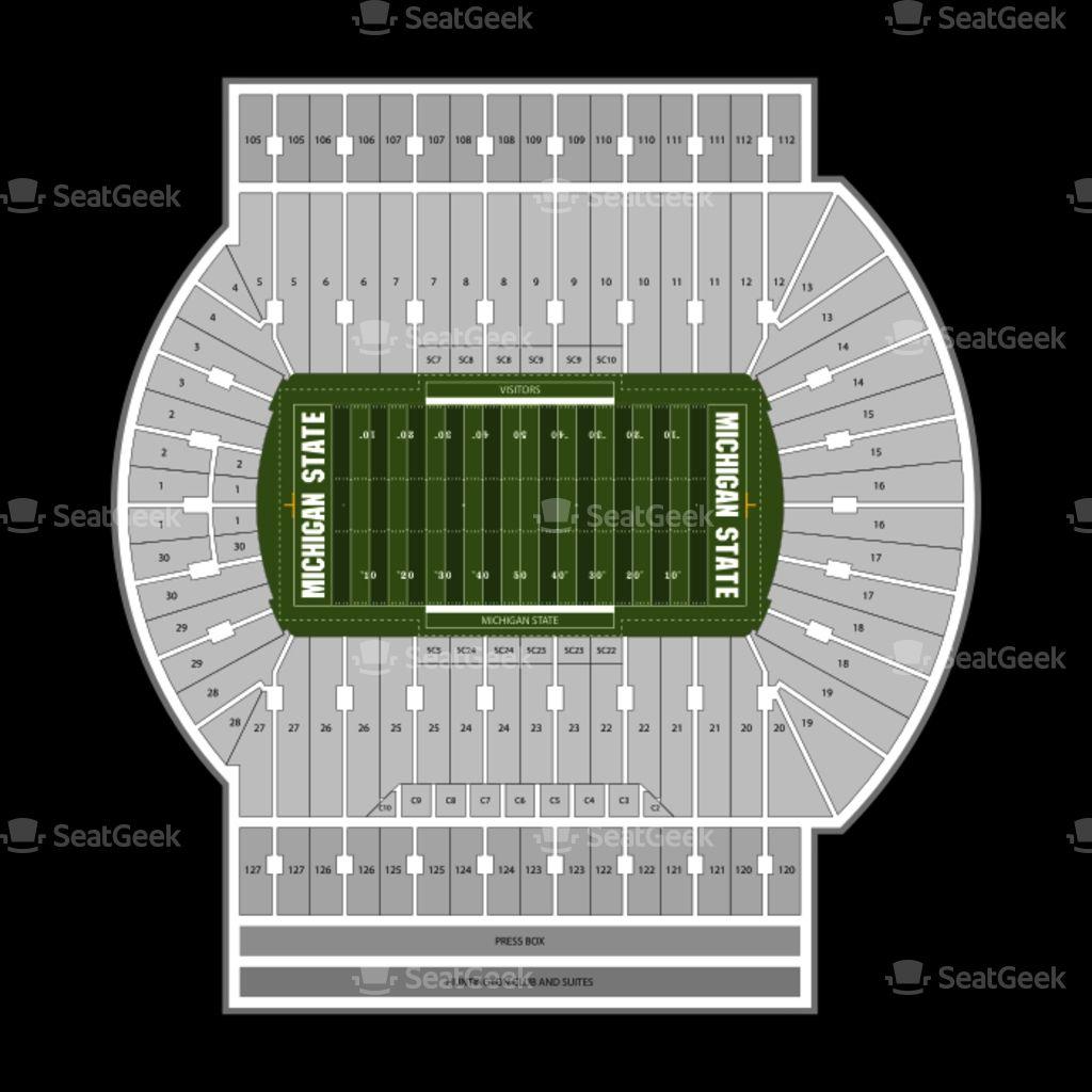 Spartan Stadium Seating Chart Map Seatgeek Intended For Michigan