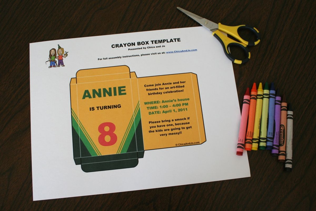 custom crayon box invitation the template is in microsoft word