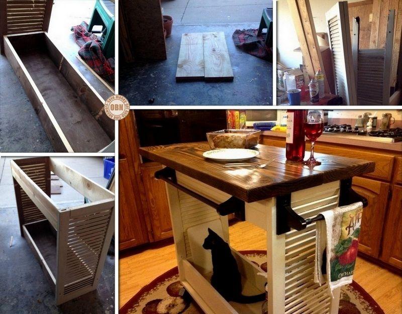 DIY Shutter Turned Kitchen Island Para casa Pinterest Diy shutters
