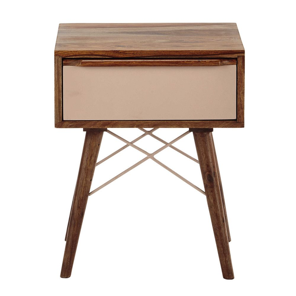 table de chevet avec tiroir en bois de sheesham massif rose girl bedroom nude pink copper. Black Bedroom Furniture Sets. Home Design Ideas
