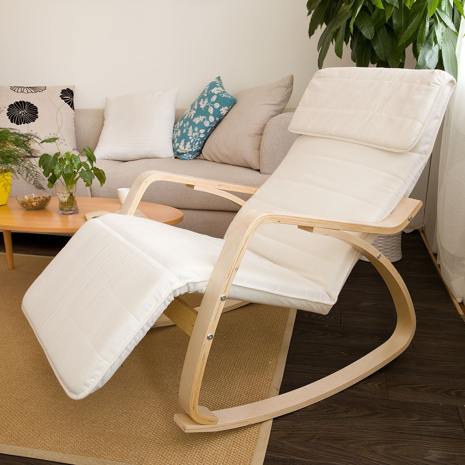amazon com sobuy comfortable relax rocking chair with foot rest