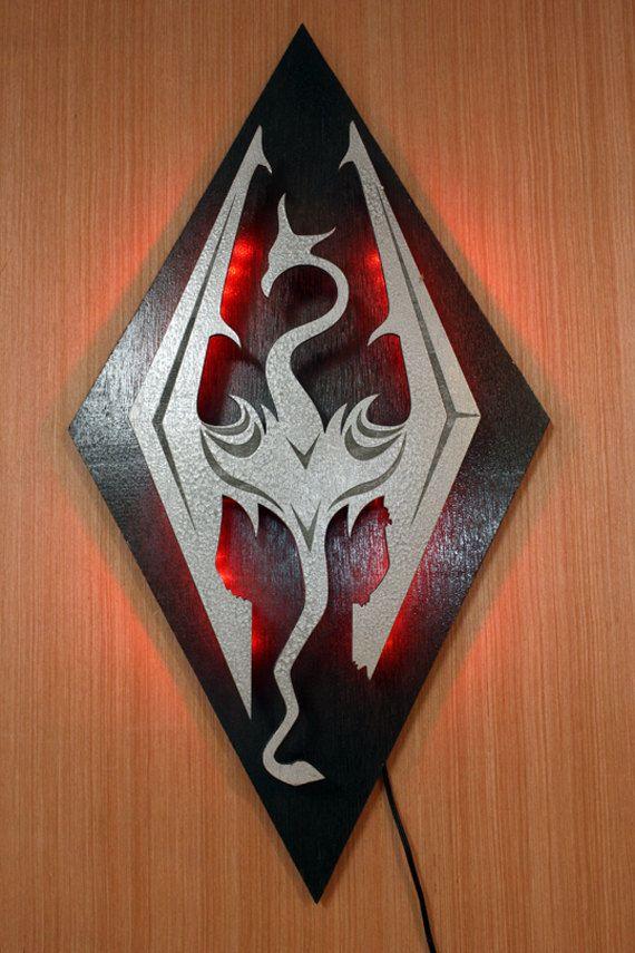 Skyrim Imperial Symbol Dragon Lighted Wall Decoration Skyrim