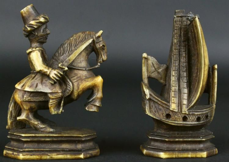 Russian Kholmogory Chess Set,Walrus Ivory, 18th C.