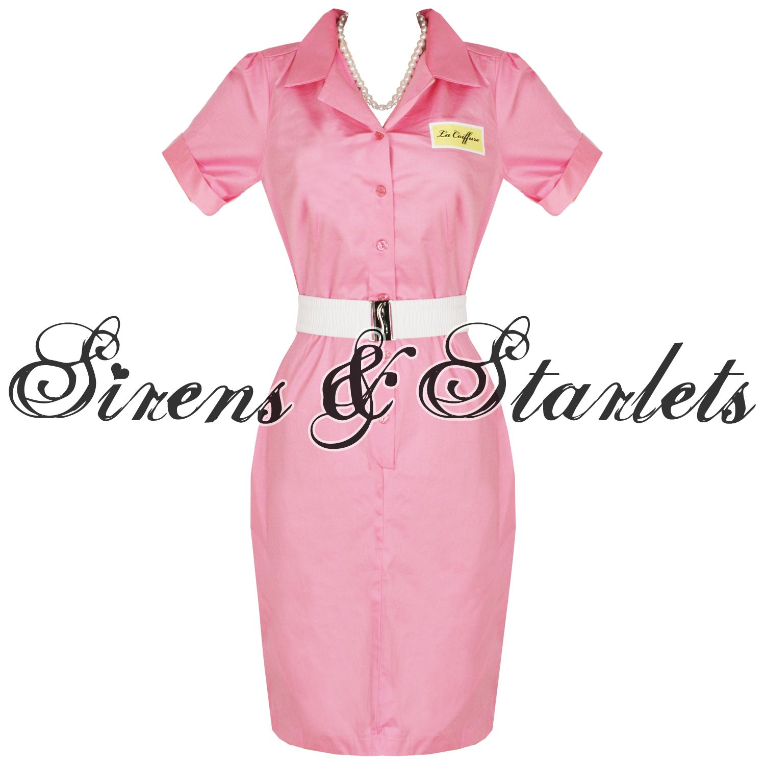 pink frenchy grease beautician 50s pencil fancy dress