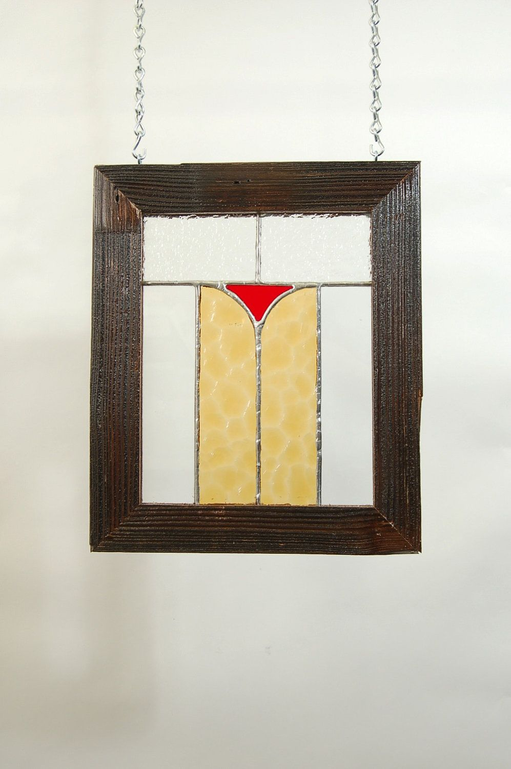 Stained Glass Panel with Rustic Barnwood Frame - Window Hanging ...