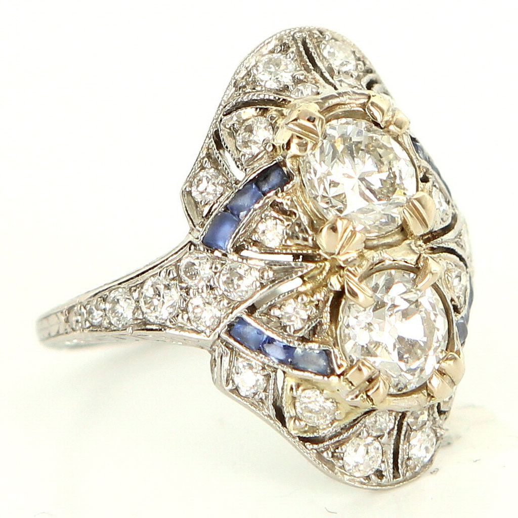 4673406d5 Vintage Art Deco 900 Platinum Diamond Sapphire Cocktail Ring Estate Fine  Jewelry 6.25