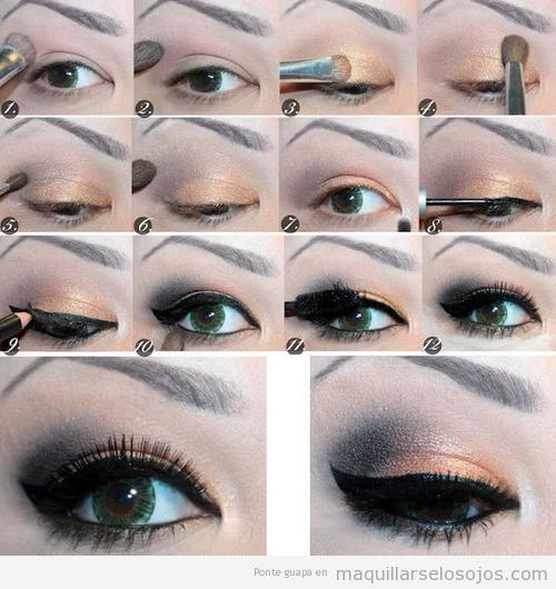 maquillaje de ojos en bronce y negro paso a paso - Como Pintarse Los Ojos Paso A Paso