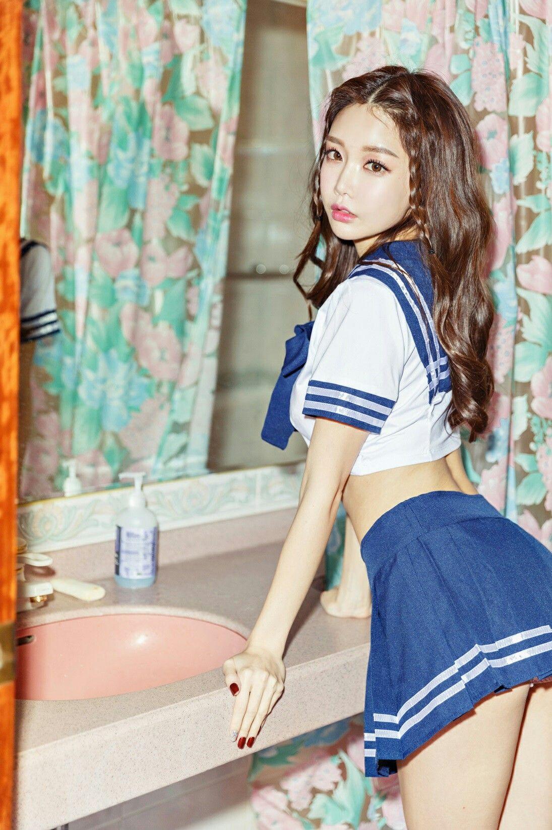 Asiatisch College Mädchen Badezimmer