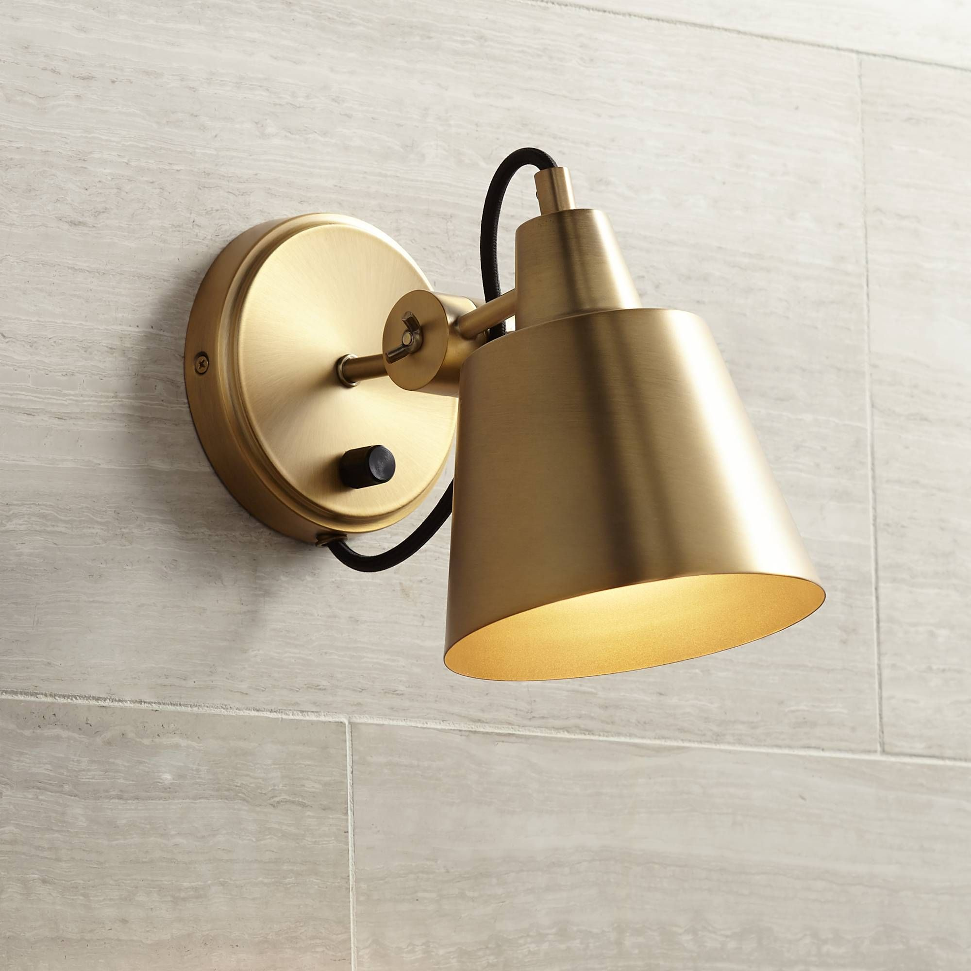 "Possini Euro Capetown 8"" High Warm Brass Swivel Wall Sconce"
