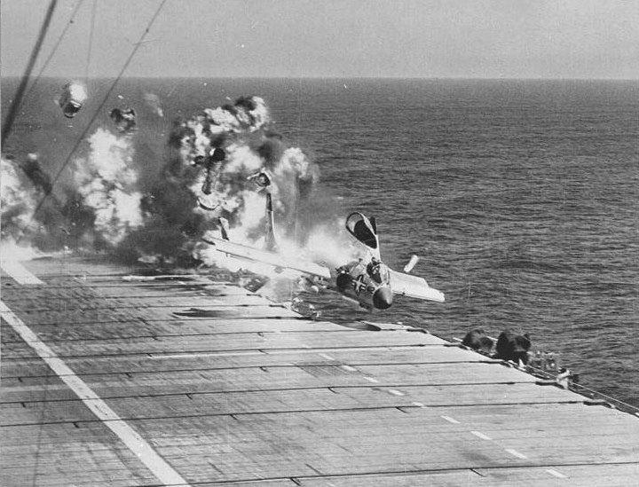 /via Kemon01 #flickr #plane #1950s #USN #F7U #Cutlass #crash