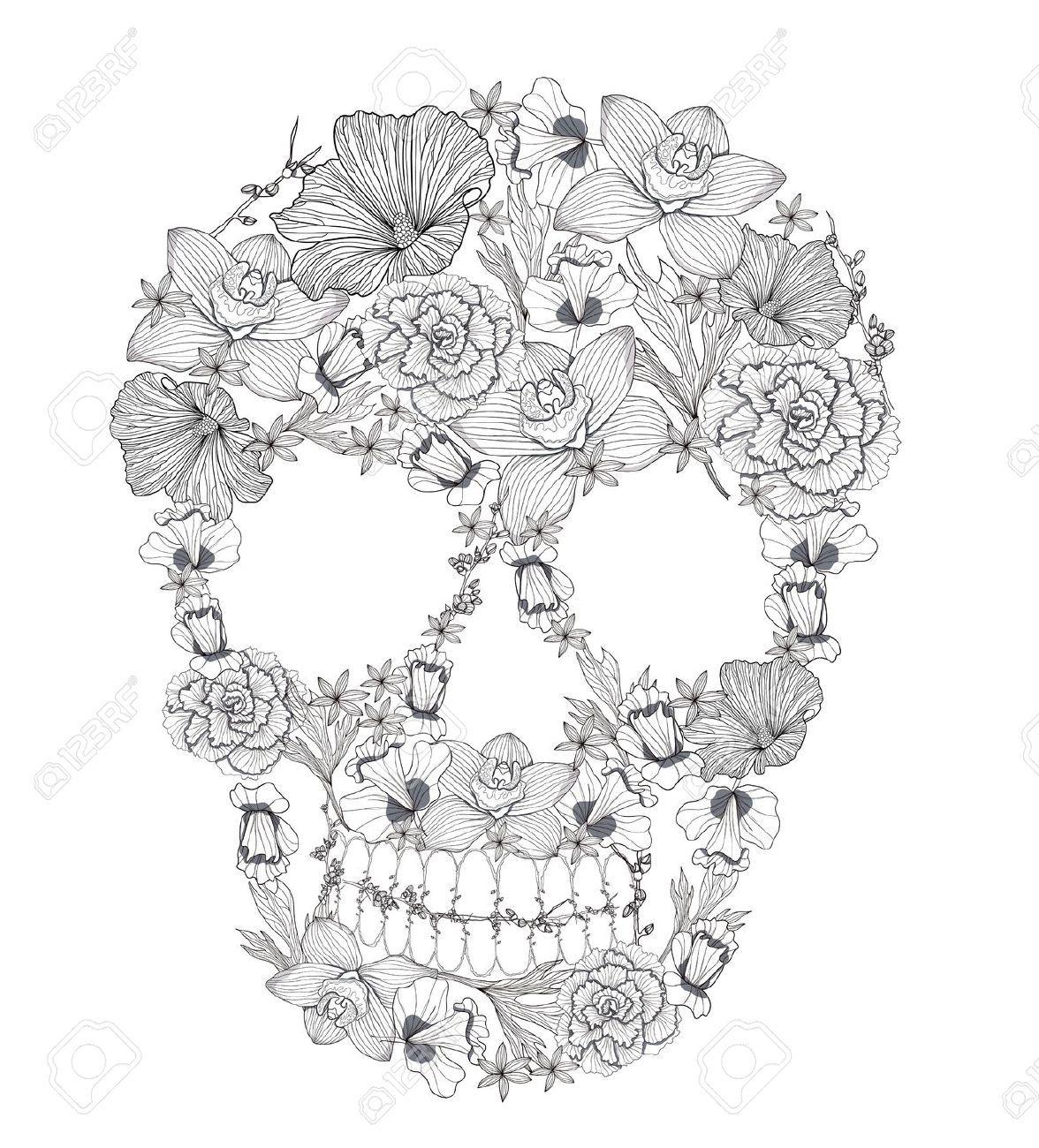 floral skull tattoo Buscar con Google Body Art Pinterest