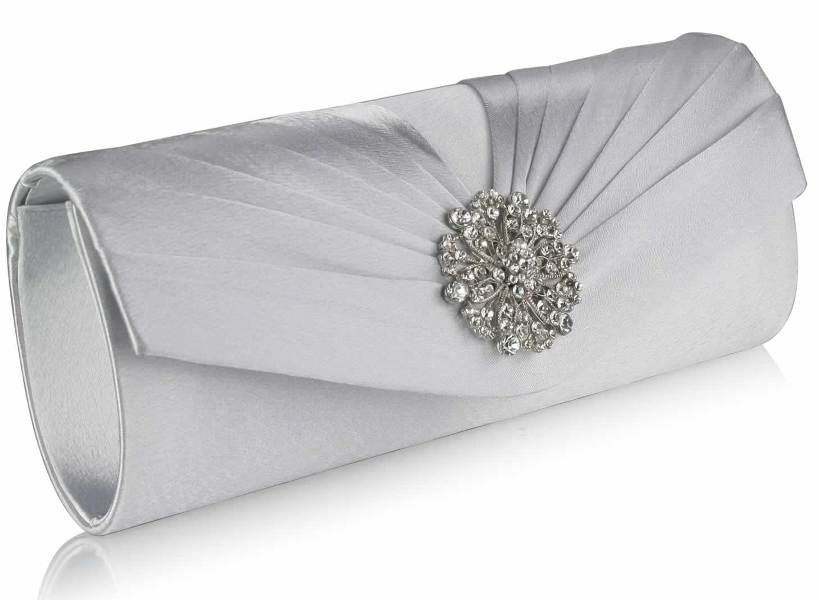 Classy Pleated Women Lady Bridal Diamond Evening Clutch Bag Crystal Elegant Wave