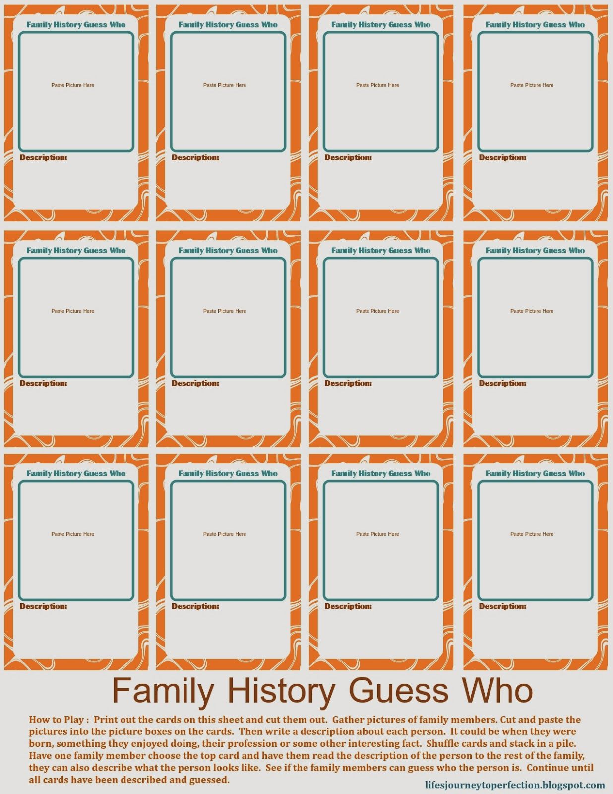 Family Home Evening: Family History Week 3 (Family Guess Who Game ...