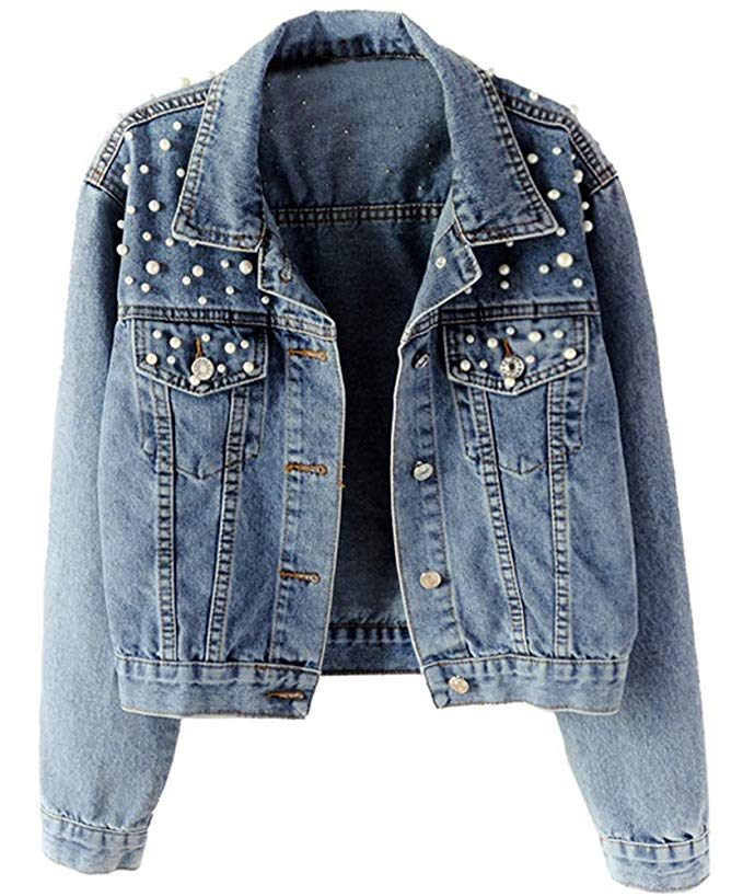 Women Denim Jacket with Rivets Oversize Long Sleeve Frayed Thin Jeans Jackets Female Coat