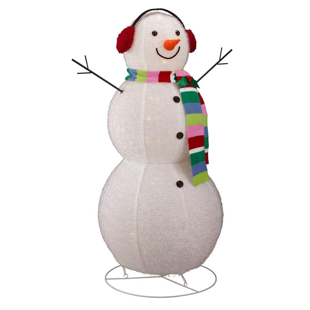 0ee207d6827d4 46 Tinsel Glitter Lit Snowman with Earmuffs and Scarf - Wondershop ...