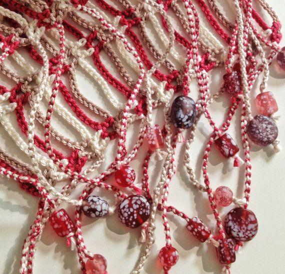 Plum And Earth Beaded Crochet Summer Scarf By Gabycrochetcrafts