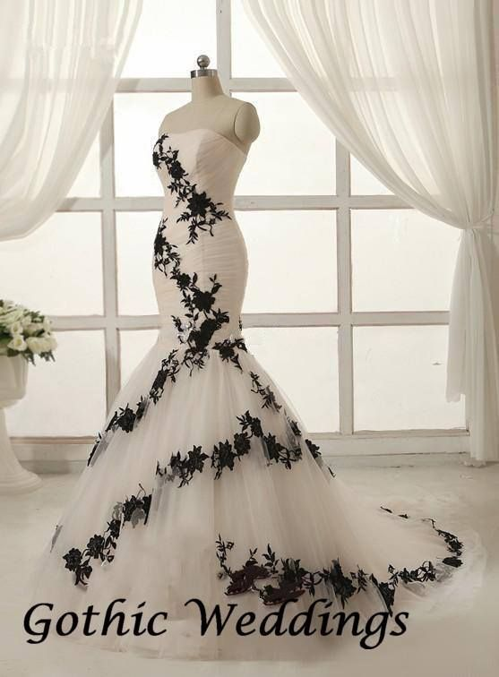 Black and White wedding gown, found on Gothic Weddings | tattoo ...